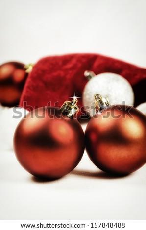 Christmas decoration with Santa hat - stock photo