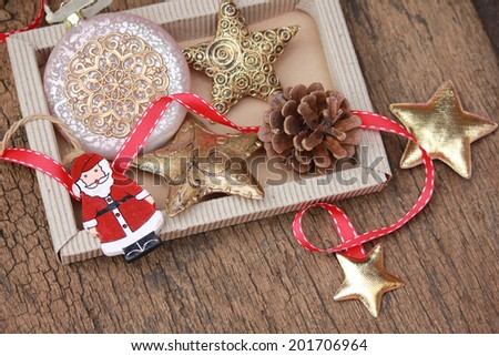 Christmas decoration with santa, stars and christmas bauble