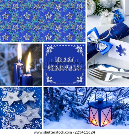 Christmas Decoration with Seamless Pattern - stock photo
