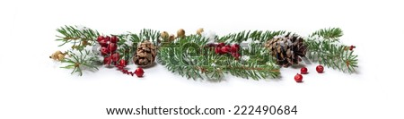 Christmas Decoration with snow. Holiday Decorations Isolated on White Background. Panoramic image.Selective focus.