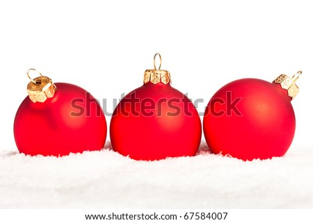 Christmas decoration with snow isolated on white background - stock photo