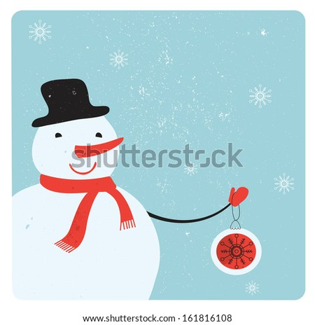 Christmas decoration with snowman.  - stock photo