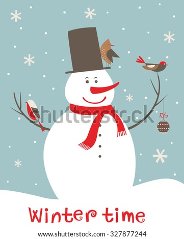 Christmas decoration with snowman and birds. - stock photo