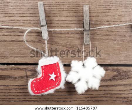 Christmas decoration with wooden background