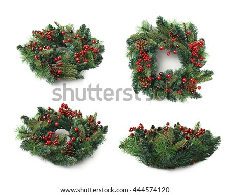 Christmas decorational fir wreath isolated over the white background, set of four different foreshortenings - stock photo