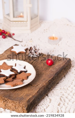 Christmas decorations and candles - stock photo