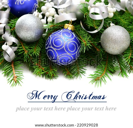 Christmas decorations and Christmas tree on a white background, greeting card - stock photo