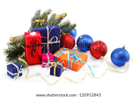Christmas decorations and gifts on a white background.