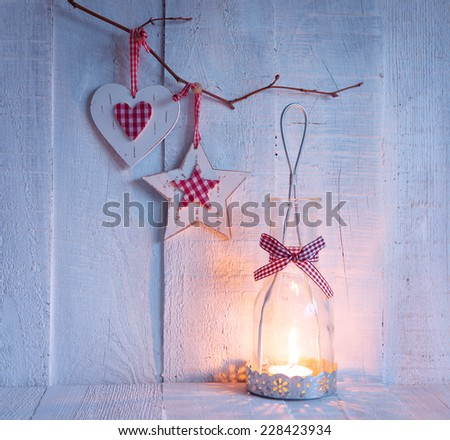 Christmas decorations and lantern at the evening . - stock photo