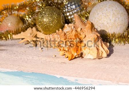 Christmas decorations and sea shells and starfish. - stock photo