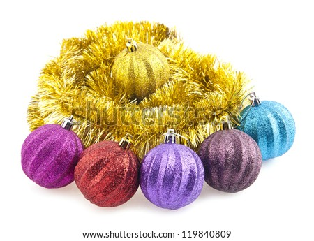 christmas decorations are isolated a white background
