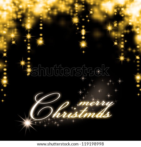 Christmas Decorations background - beads; star, tree candles on fir tree branch