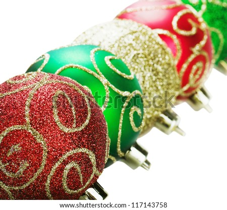 Christmas decorations, balls on a white background with space for text - stock photo