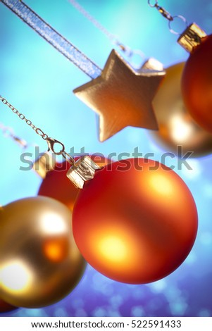 Christmas decorations - baubles and stars on abstract background