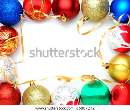 Christmas decorations border isolated against a white background - stock photo