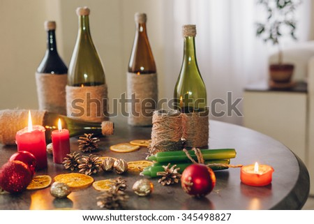 Christmas decorations by candlelight