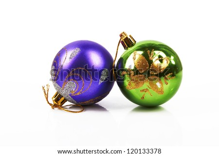 Christmas decorations - colorful balls  on white with clipping path