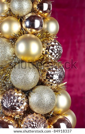 Christmas decorations detail over white background