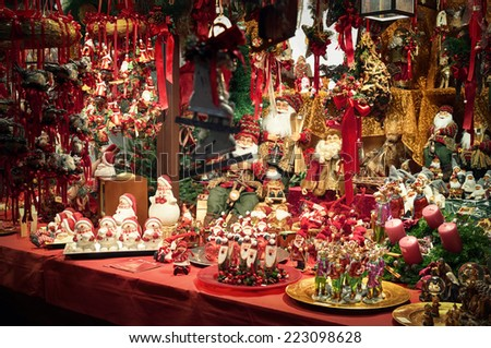 Christmas decorations displayed for sale  at a Christmas Market. - stock photo