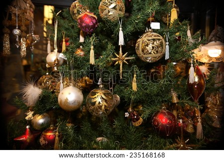 christmas decorations for christmas tree markets bolzano - stock photo