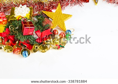 Christmas decorations, gifts, color balls, ribbons on a white background.