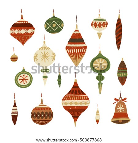 Christmas decorations. Hand-drawn illustration.