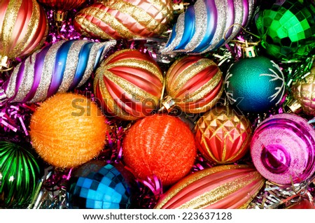 Christmas decorations in festive holiday concept - stock photo