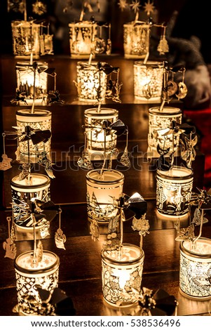 Christmas decorations in the shape of small l&s with different designs. & Christmas Decorations Shape Small Lamps Different Stock Photo (Edit ...