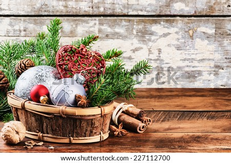 Christmas decorations in vintage style - stock photo