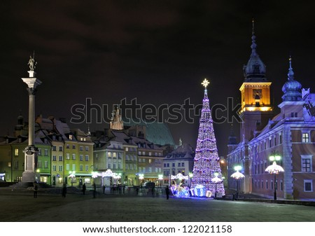 Christmas decorations in Warsaw, Poland - stock photo