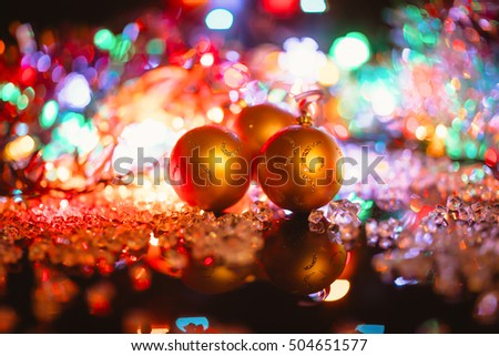 christmas decorations isolated on black.  glass balls and lights