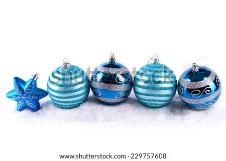 Christmas decorations isolated on white - stock photo