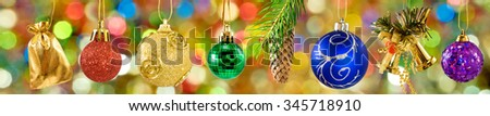 Christmas decorations on a colorful background closeup - stock photo