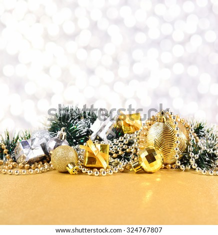 Christmas decorations on a silvery bokeh background