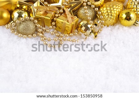 Christmas decorations  on a snow background