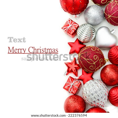 Christmas decorations on a white background - stock photo