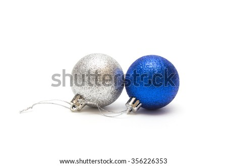 Christmas decorations on a white background. Blue and silvery Christmas balls