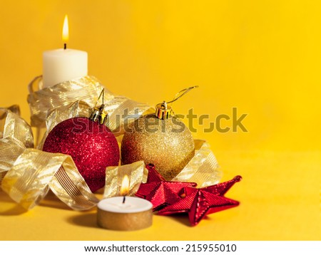 Christmas decorations on abstract background - stock photo