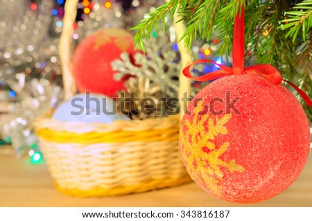 Christmas decorations on  abstract blurred background