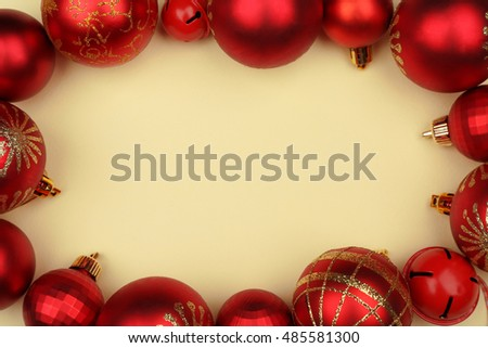 Christmas decorations on beige background