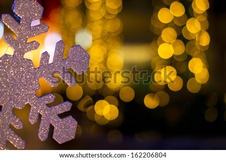 Christmas decorations on bokeh background - stock photo