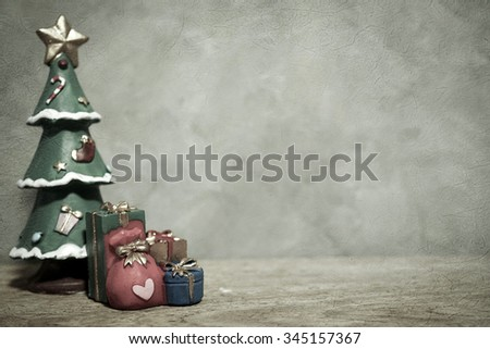 christmas decorations on cement background in vintage style