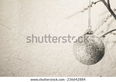 Christmas decorations on mulberry paper texture for background - stock photo