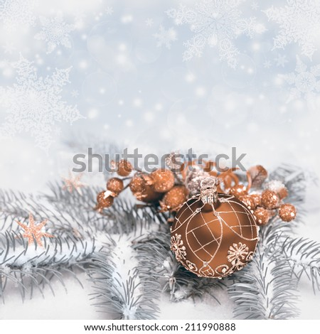 Christmas decorations on neutral winter background, text space  - stock photo