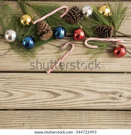 Christmas decorations on old wood with copy space