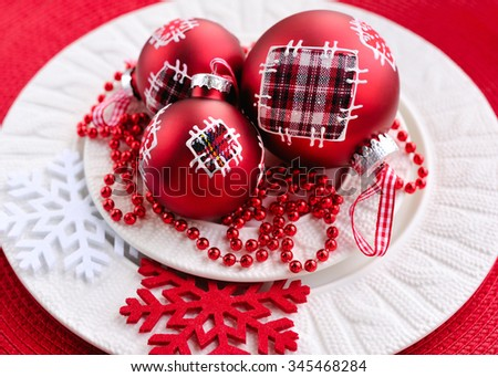 Christmas decorations on plate. Christmas holidays concept