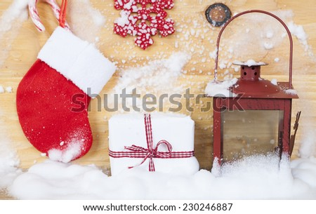 Christmas decorations on rustic wooden background - vintage photo