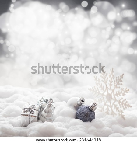 Christmas decorations on sparkling background - stock photo