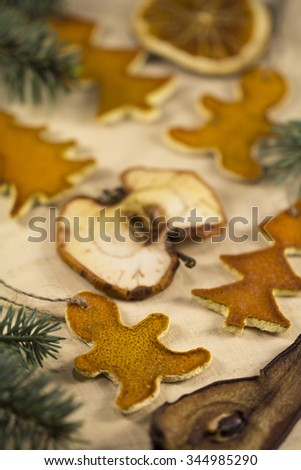 Christmas decorations on the background of wood