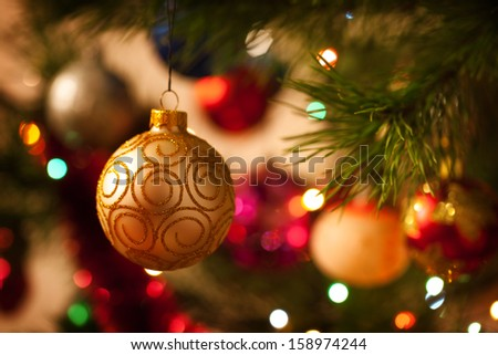 Christmas decorations on the branches fir - stock photo